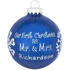 Personalized First Christmas As Mr. & Mrs. Blue Glitter Ornament #wedding #personalized #ornament #Christmas #Bronners $10.99