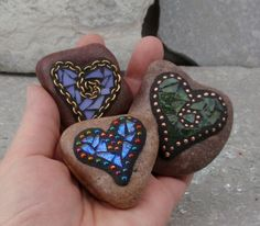 Lavender and Gold Heart  Mosaic Paperweight / by ChrisEmmertMosaic, $16.50
