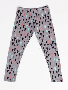 Stalactite Leggings in Mint, Rust and Black on Grey