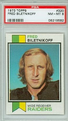 1973 Topps Football 320 Fred Biletnikoff Raiders PSA 8 Near-Mint to Mint by Topps. $12.00. This vintage card featuring Fred Biletnikoff is # 320 from the 1973 Topps Football set