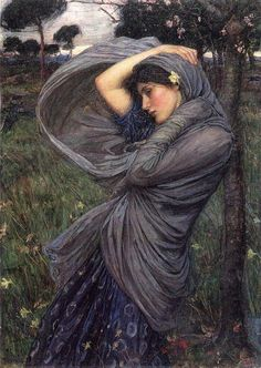 """John William Waterhouse's """"Boreas,"""" painted in 1903.  (Boreas was the North wind in Greek mythology.)"""