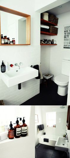 white walls and dark floors for bathroom.
