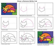 Draw a cat in the style of famous pop artist Romero Britto. Tutorial available to download. #Britto #popart #artprojectsforkids