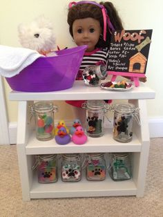 Pet shop treats in jars for American Girl or 18 inch doll