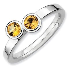 Sterling Silver Stackable Expressions 1/2 ct Double Round Citrine Ring for $44.97