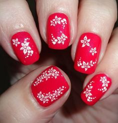 Sparkly Nails - Floral Burst White Nail Stickers #nails #rednails #valentines #nailart #flowers #bblogger - bellashoot.com