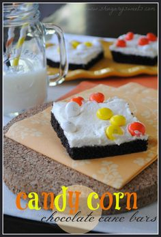 Candy Corn Cake Bars- chocolate cake bars topped with vanilla buttercream frosting and candy corn m-and-m candies @shugarysweets