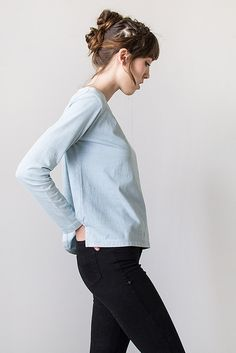 Taylor Stitch Light Blue Classic Boatneck Shirt fashion photo, classic boatneck, style inspir, la chemisi, mon style, boatneck shirt, stitch light