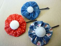 Vintage Yo Yo Hair Clip Bobby Pins perfect for the Fourth of July.  #4th of July