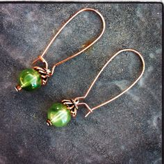 Copper with sage stone earrings