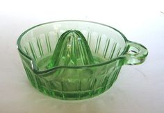 1930's Green Vaseline Glass Deep Sided by cheshirecatantiques
