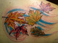 Tattoos leaves i want the green one or the purple one in fall colors!