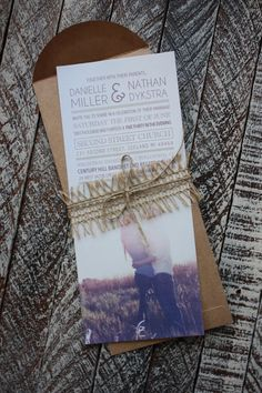 Photo wedding Invitation with burlap and twine on Etsy, $3.00