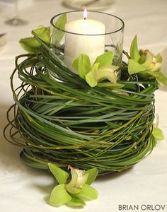 A nest of curled up bear grass with sprinkles of green cymbidium topped with a cylindrical vase and a pillar candle.