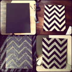 Diy canvas chevron silver glitter art cute wall decor.. maybe with black and gold glitter and add a Purdue logo somewhere?