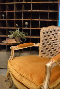 French chair, primitive cubby, perfect combo @ www.chartreuseandco.com