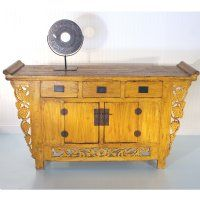 "Antique Asian Chinese Furniture 62"" Yellow Buffet Cabinet Chest w Grape Carved Spandrels"