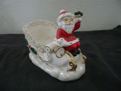 Vtg NAPCO Christmas Santa Sleigh Planter/Figurine Japan In Holt Howard Book