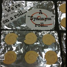 """Synonym"" cinnamon rolls! Such a fun activity for students to remember synonyms!!"