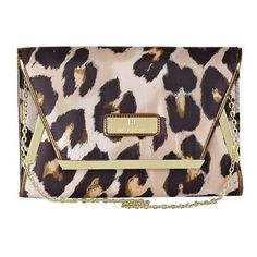 River Island Beige Leopard Print Envelope Clutch ❤ liked on Polyvore