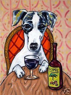 whippet at the wine bar dog art print 13x19