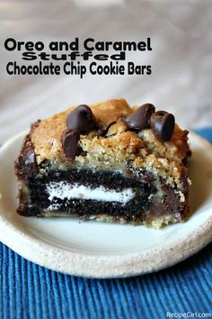 Oreo and Caramel Stuffed Chocolate Chip Cookie Bars