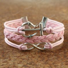 pink infinity and anchor bracelet