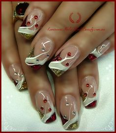 Christmas Nails in Red,White & Gold. - Nail Art Gallery nailartgallery.nailsmag.com by NAILS Magazine www.nailsmag.com