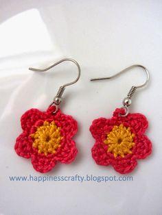 Crochet Flower Earrings ~ Free Pattern