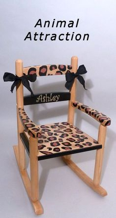 Gorgeous hand painted and personalized Leopard Child's Rocking Chair from Neat Stuff Gifts.