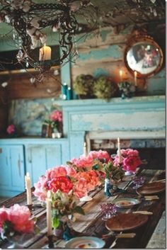 Table setting in pink with aqua backdrop