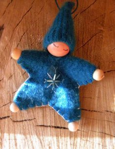 Waldorf Star Baby Ornament, Cashmere, Turquoise, Upcycled wool