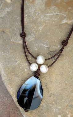 Leather & pearl necklace with banded onyx pendant   #handmade #jewelry