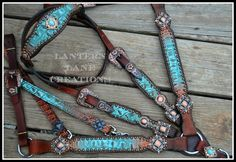 Custom order turquoise/bronze croc tack set/antique copper hardware