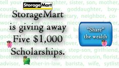 StorageMart ScholarSmarts awards $10,000 in annual college scholarships. Learn more at http://www.storage-mart.com/scholarship