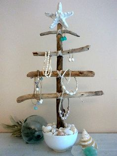DIY jewelry tree...  or...how to incorporate all the extra beach shells and use to decorate at Christmas so I don't have to remove all my year round beach decor :)