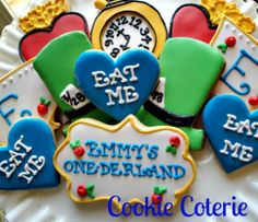 Onederland Decorated Cookies Birthday Party Cookie Favors Alice in Wonderland Cookies by CookieCoterie, $28.00