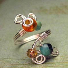 Wire wrapped ring w/ beads. Next creation idea!