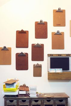 studio, office spaces, office organization, diy crafts, clipboard wall, office walls, offic space