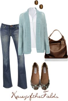"""""""Brown and Blue"""" by kaseyofthefields ❤ liked on Polyvore"""