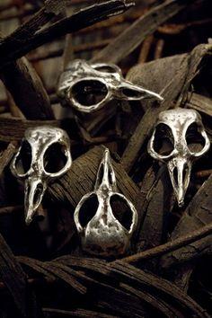 Bird Skull Cabinet Hardware Skull Drawer Pulls  Skull Cabinet Knobs cast metal. Antique silver plate.
