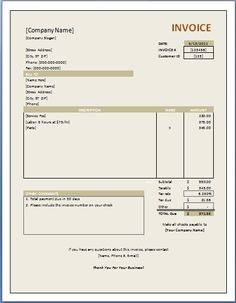 Rental Invoice Template. lease invoice template 8 free sample ...