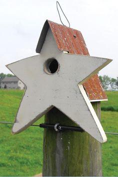 Amazon.com: Custom Decor Rustic Star Cottage Birdhouse: Patio, Lawn & Garden