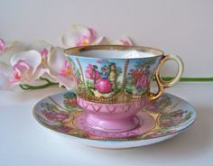 Vintage Teacup and Saucer Courting Couple.