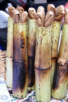 Thai Khao Lam: Bamboo Tubes of Sweet Custardy Sticky Rice) - This weeks Travel Pinspiration on the blog (Thai Food Dishes)