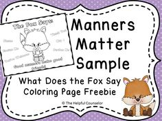 Manners Matter: What Does the Fox Say Coloring Page Freebie and Activity Pack