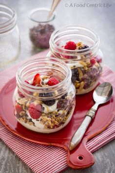 Yogurt Parfait with Berries, Granola & Cocoa Nibs from A Food Centric Life | Theo Chocolate