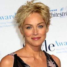 Sharon Stone short spiky hairstyle