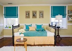 This is what we are planning to do with the queen sized bed in the room.  color palettes, blue, colors, nurseri, window treatments, roman shades, clean lines, kid room, bedroom