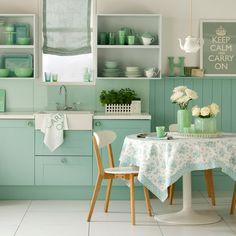 Minty green kitchen : lovely!  Housetohome.co.uk